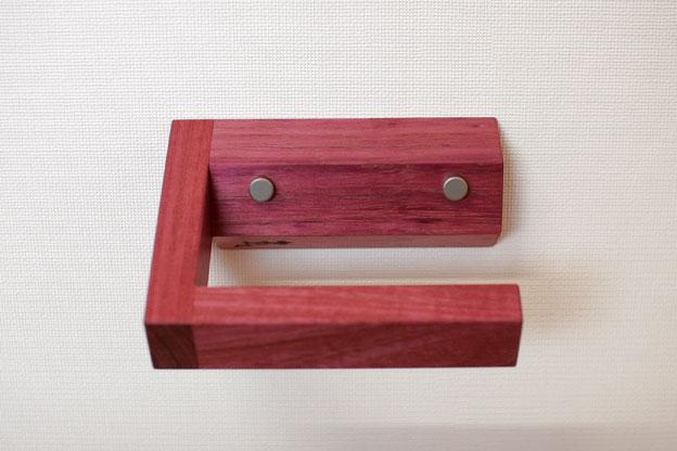 木のトイレットペーパーストッカーCパープルハート画像05